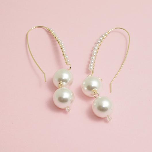 王府井百货 双珠造型设计款女士耳饰