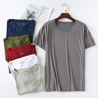 Modal male t-shirt short sleeve round collar bottoming sweatshirt casual solid color exercise plus fertilizer large size loose cotton half sleeve