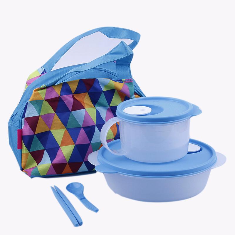 特百惠便携分隔2套装饭盒午餐微波便当盒1升分格碗件套水晶汤碗