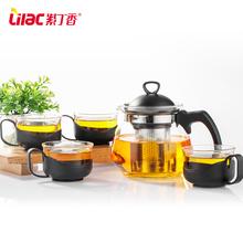 紫丁香耐热玻璃茶壶不锈钢过滤茶具套装
