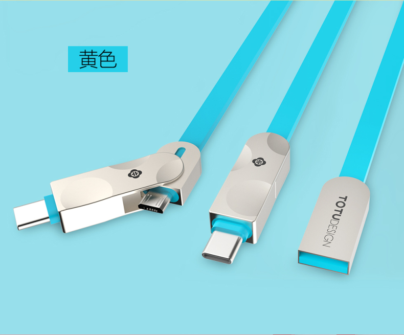 TOTU Zinc Alloy Connector Rhombic Quick Charge Type-C+Micro USB Cable for MacBook LeEco Android Type-C Smartphones Tablets