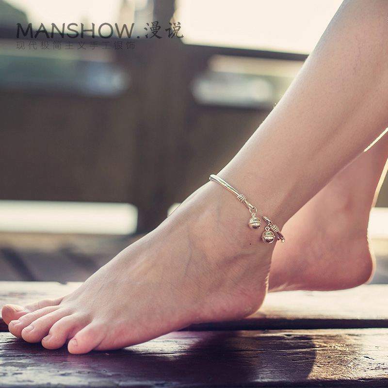 sterling ankle with delicate tiny bell anklet decoration feminine foot pin bracelet silver
