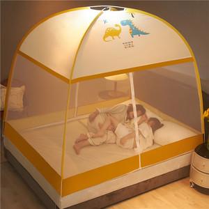 2021蒙古包蚊帐免安装1.8m家用1.5米床防摔儿童1.2可折叠加密宿舍