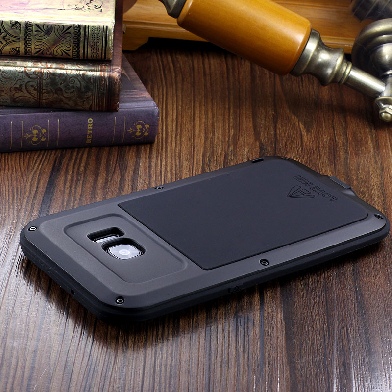 LOVE MEI Powerful Water Resistant Shockproof luminum Metal Gorilla Glass Heavy Duty Case Cover for Samsung Galaxy S7 Edge