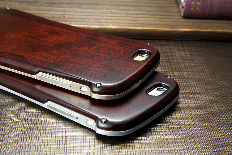 Armor King Allure Wood Neo Hybrid Aluminum Metal Frame Real Wooden Back Cover Case for Apple iPhone 6S/6