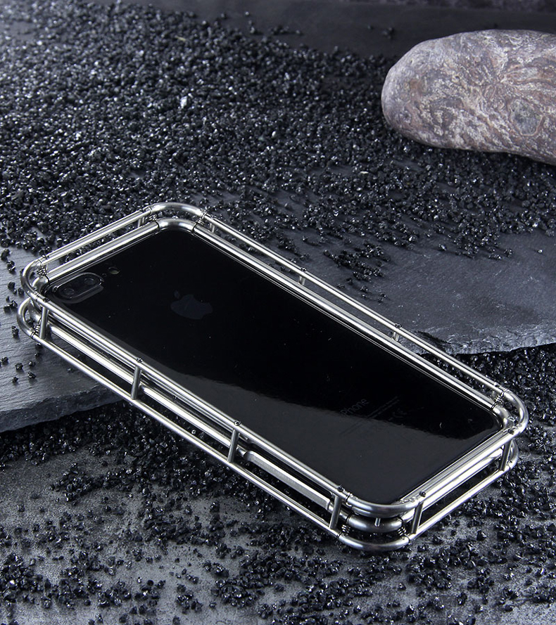 R-Just Spring Stainless Steel Shockproof Case Cover for Apple iPhone 8 Plus/8/7 Plus/7