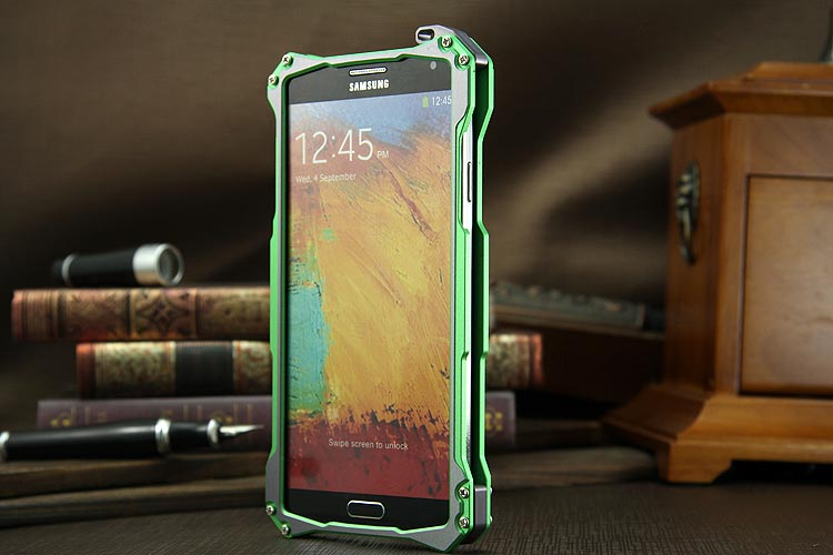 R-JUST GUNDAM Aerospace Aluminum Contrast Color Shockproof Metal Shell Outdoor Protection Case for Samsung Galaxy Note 3 N9000