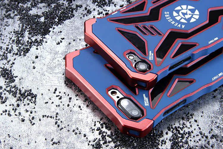 R-Just Avengers Superhero Aluminum Metal Frame Shockproof Macromolecular Materials Case Cover for Apple iPhone 7 Plus