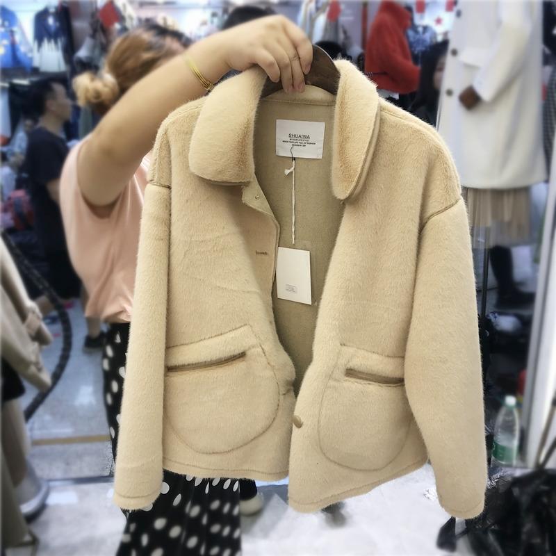 短外套女2019秋冬季新款宽松小香风洋气小个子皮毛绒上衣一体水貂