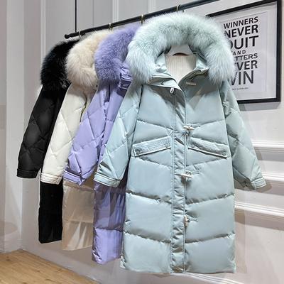 诗文同款2020新冬爆款羽绒服女中长款韩版加厚大毛领时尚洋气外套
