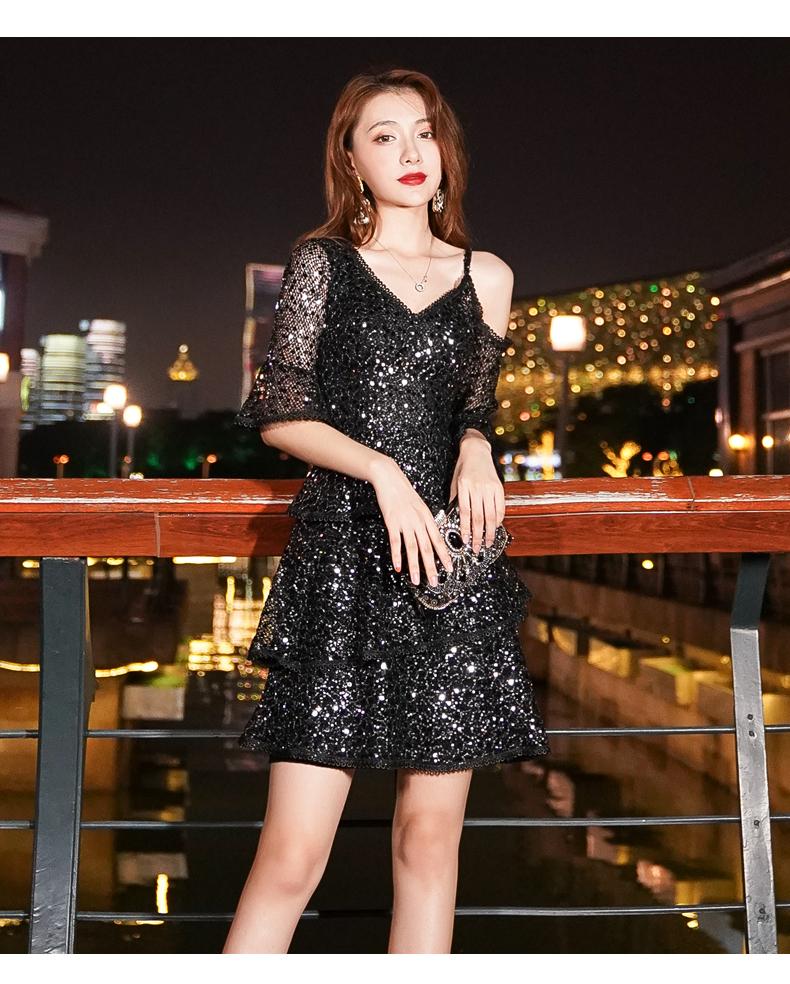 黑色晚礼服女宴会气质名媛高檔奢华主持人高级质感夏季亮片洋装详细照片