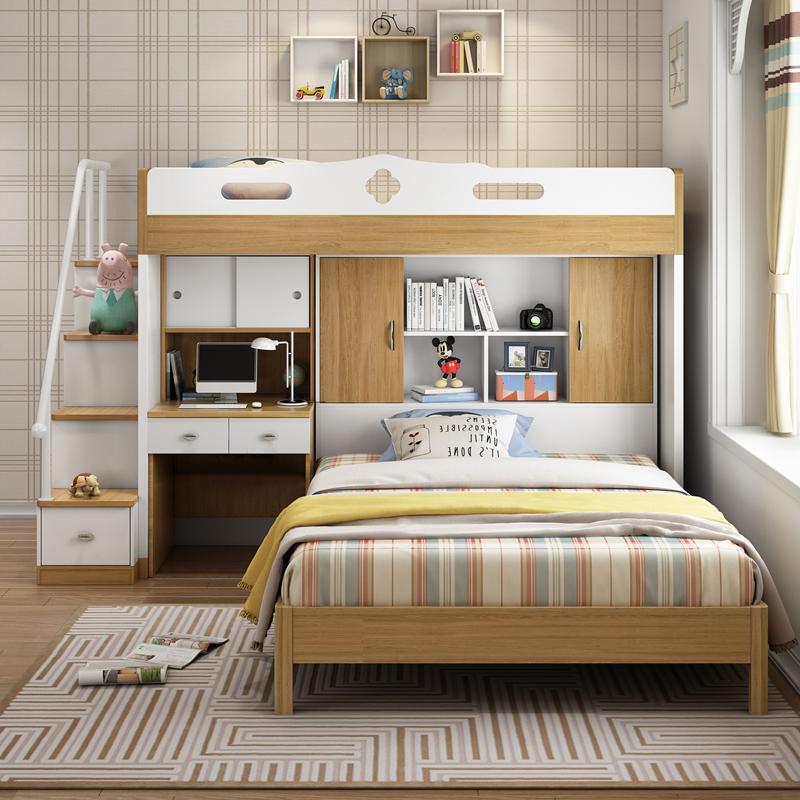 创意多功能子母上下床成人儿童双层床书桌组合衣柜