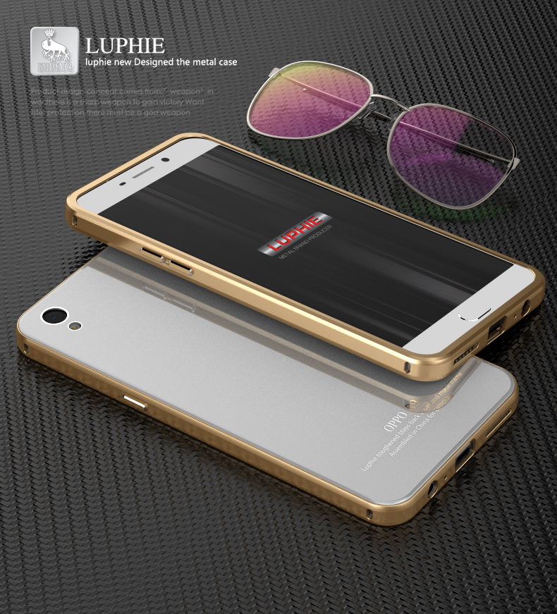 Luphie Ultra Thin Aluminum Metal Bumper 9H Hardness Tempered Glass Back Cover Case for OPPO R9