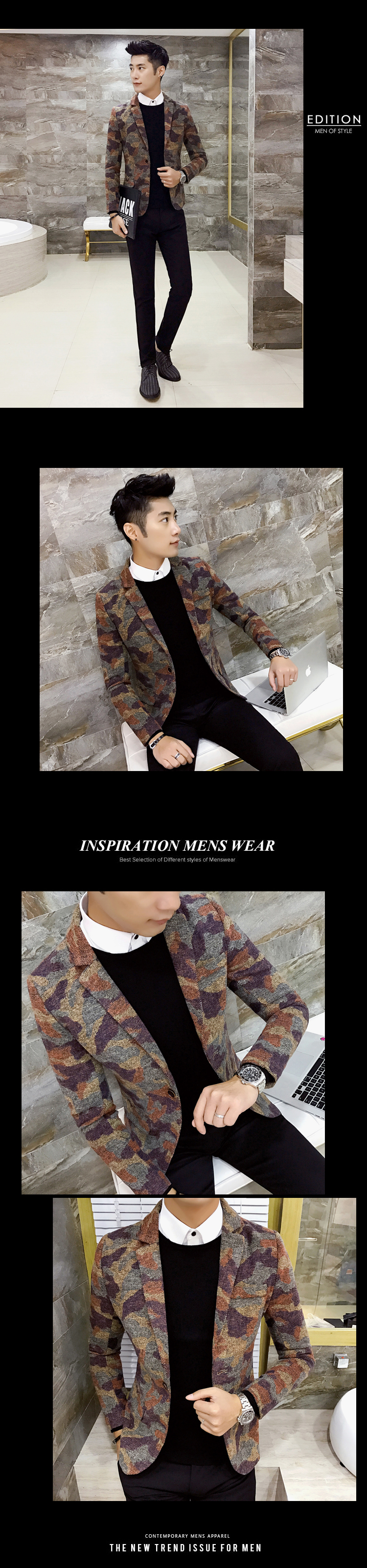 Autumn and winter camouflage hair small suit male Korean version slim casual suit hairstylist British net red print coat tide 10 Online shopping Bangladesh