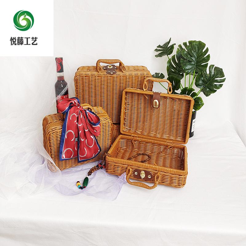 户外野餐篮储物收纳箱拍摄道具咖色藤箱子复古伴手礼箱藤编手提箱