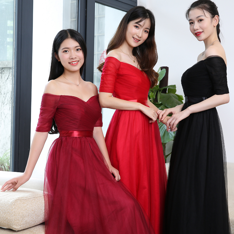 USD 14.03] Dress skirt female 2018 new word shoulder dignified ...