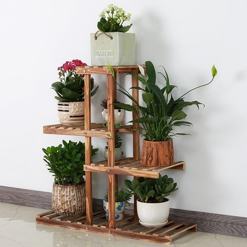 花架子木质吊兰放客厅的简约盆栽落地实木花盆式多肉室内绿萝多层