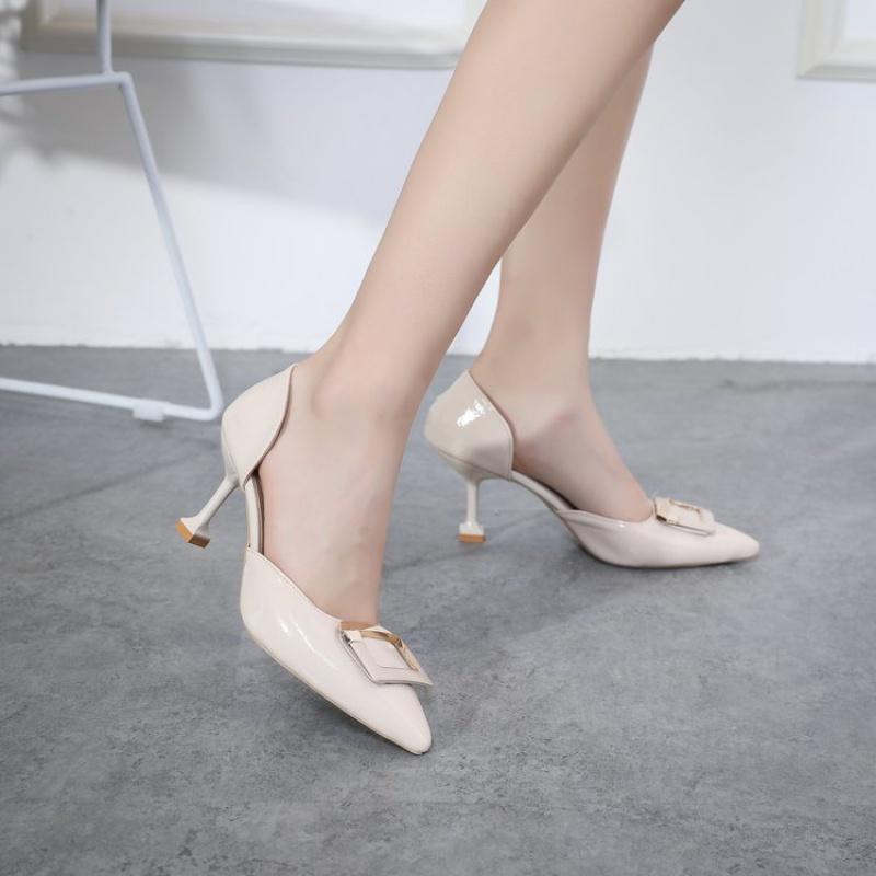 方扣高跟鞋女尖头5厘米细跟少女裸色伴娘中跟浅口舒适春秋单跟鞋