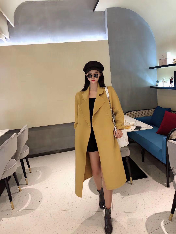 2019流行反季羊绒双面绒女式大衣黄色中长款茧型宽松新款外套毛呢