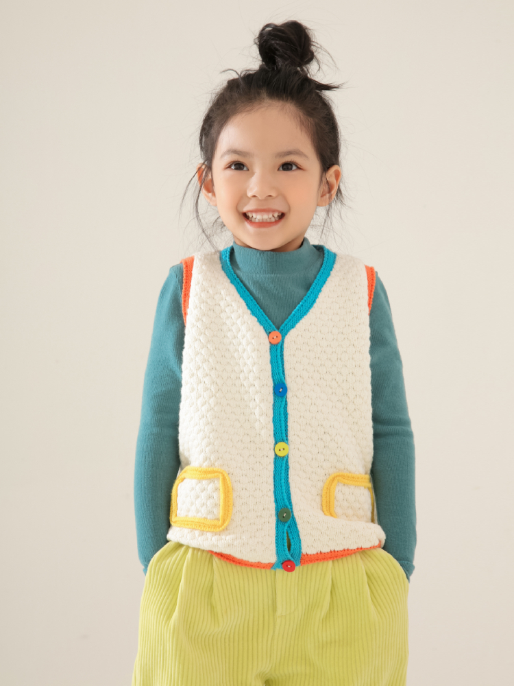 SASAKIDS customized 2020 girls' spring wear, casual vest, mash-up knitted vest