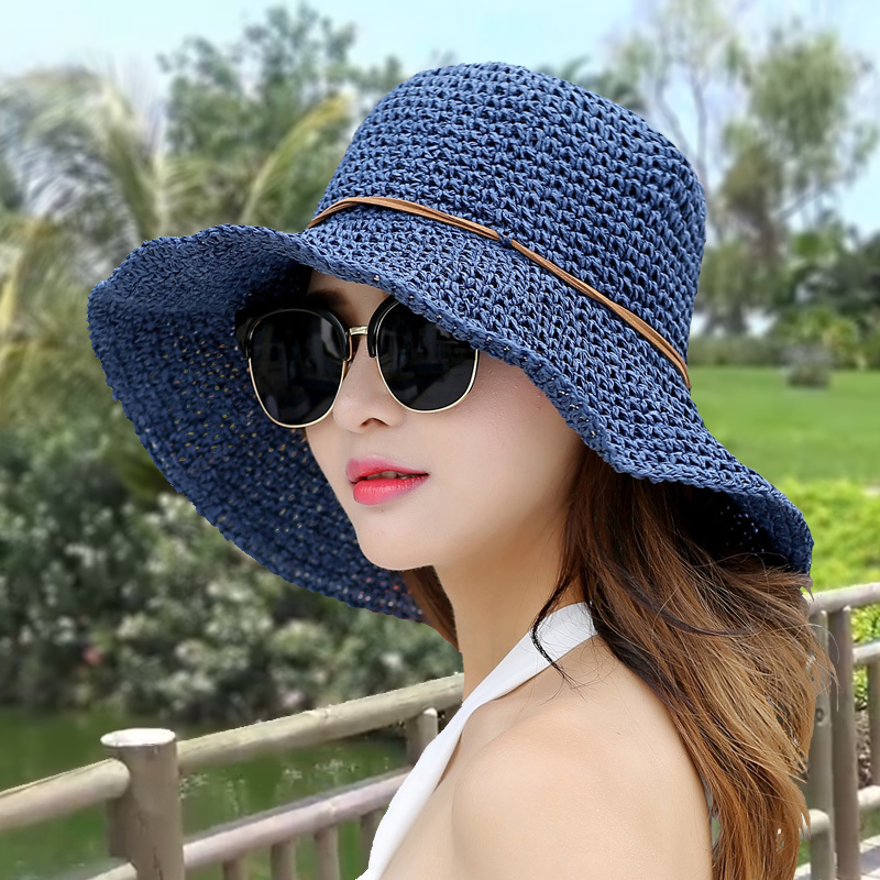 b21518637 Small fresh hand-woven straw hat Japanese tide hat female summer beach hat  new sun hat collapsible cool hat