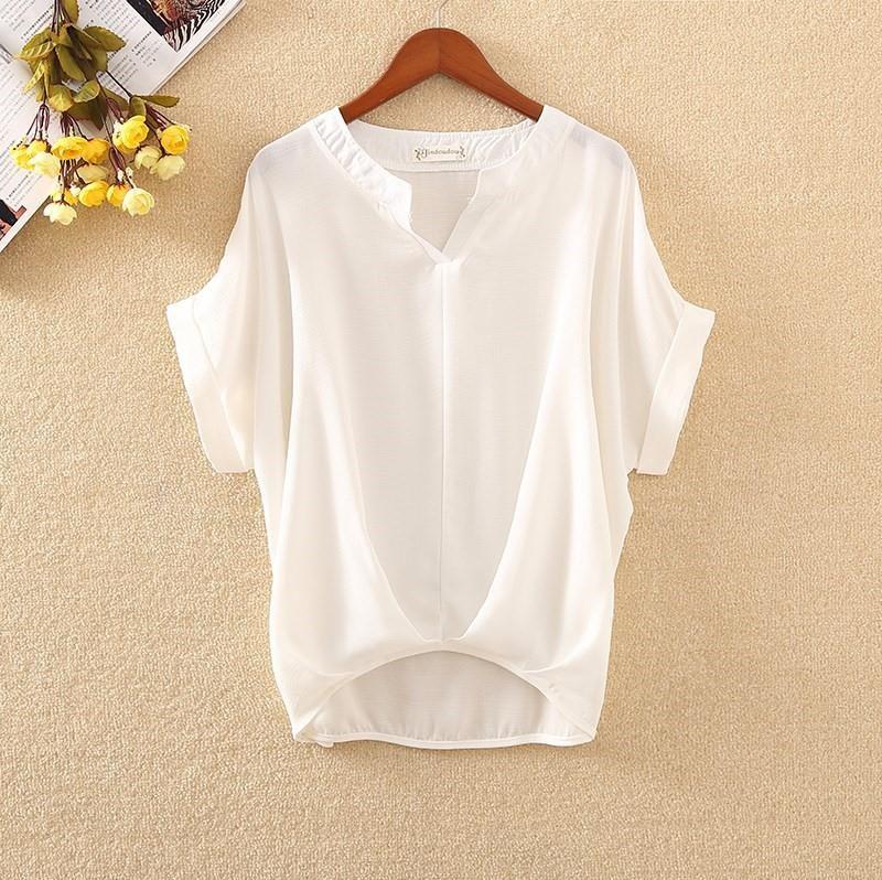 篇幅衫2019韩版短袖宽松大码棉麻衬衫女V领蝙蝠短袖百搭白色上衣