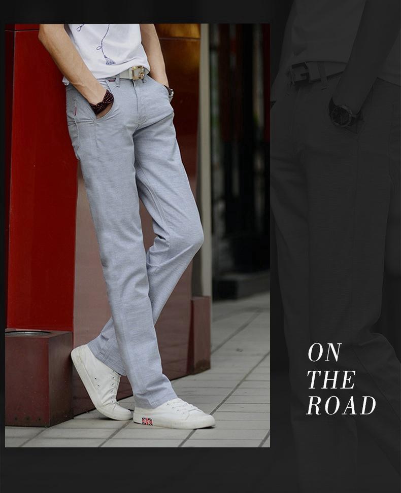 Mùa hè phần mỏng băng lụa linen nam stretch quần âu lỏng người đàn ông kinh doanh của slim straight cotton quần dài