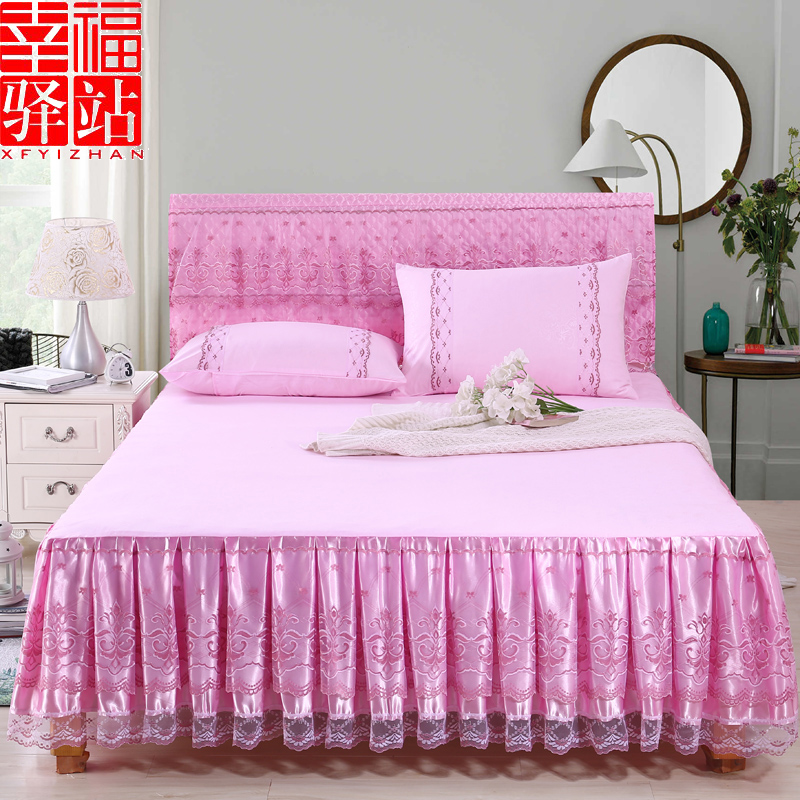 Châu âu Công Chúa giường váy giường bìa ren bên mùa hè bảo vệ bìa mảnh duy nhất giường bìa 1.8x2.0 m giường gạo non-slip