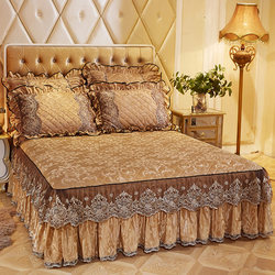 Winter European lace quilted bedspreads thermal bed skirt in one piece skirt plush thick sheets 1.5 / 1.8m bed sets