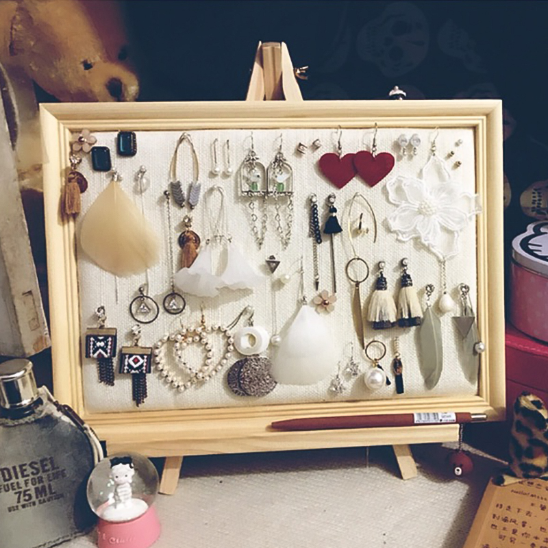 Photo frame jewelry rack ear nails to collect the rack ear nail display board earrings rack necklace rack display woman home