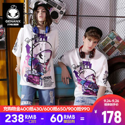 GENANX Lightning Tide brand new men's summer clothes space cotton loose hip-hop country tide anime couple t-shirt short sleeves