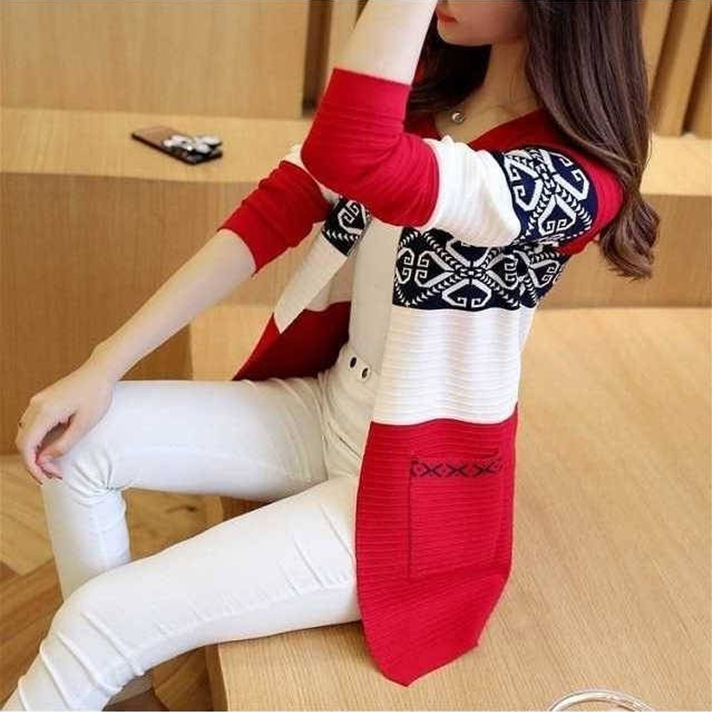 秋冬季新款女装韩版宽松大码针织开衫中长款秋冬长袖外搭毛衣外套
