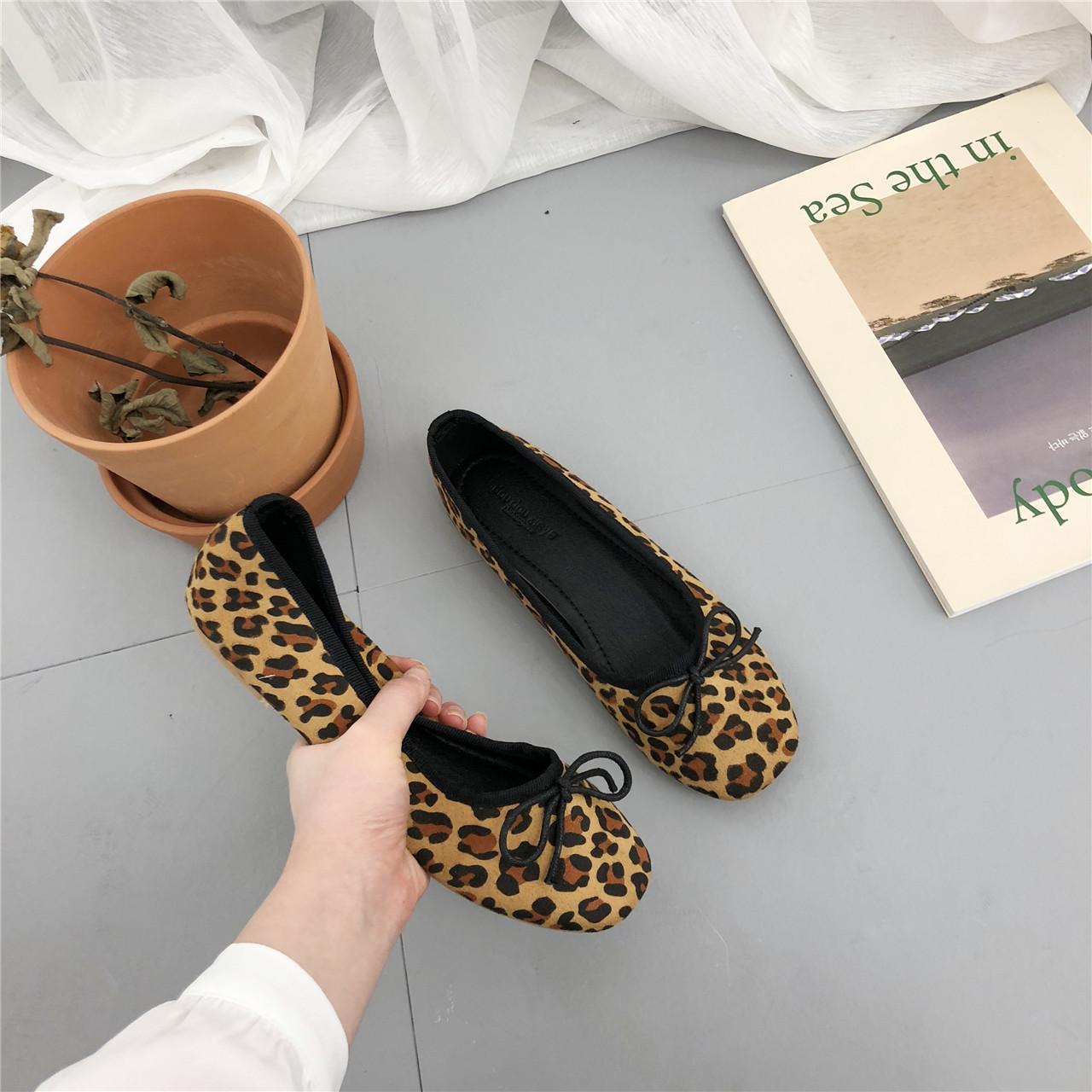欢梨 浅口单鞋新款方头豹纹百搭韩版秋女鞋平底鞋平跟舒适豆豆鞋