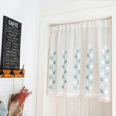 Curtains half curtains curtains fresh embroidered leaves partition curtains ugly curtains simple versatile short curtain washing machine kitchen curtain