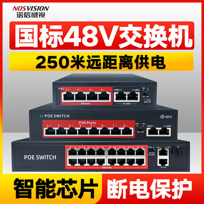 Nordson Vision 8-port standard 48V national standard network surveillance camera POE switch dedicated for network monitoring