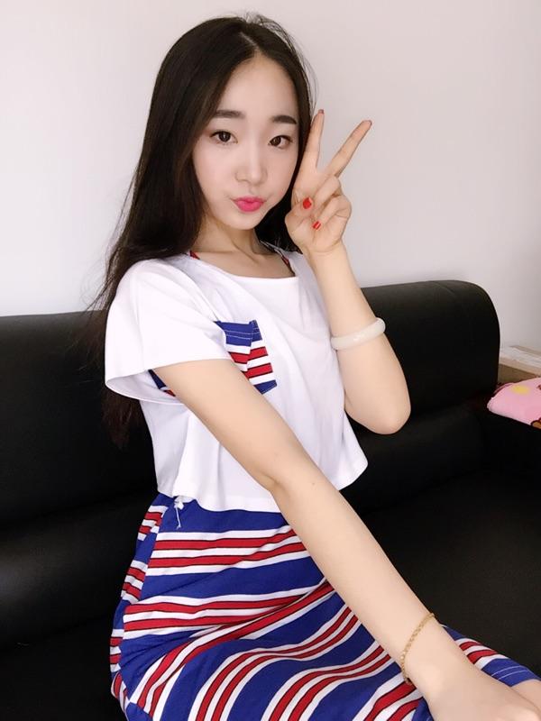 王妃家2016夏季新款韩版显瘦铅笔裙短袖修身条纹长裙连衣裙两件套