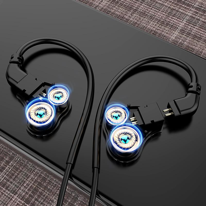 FMJ S3可换线耳机 挂耳式入耳式机通用有线控高音质四核双动圈手机DIY重低音炮降噪HIFI带麦索尼魔音监听动铁