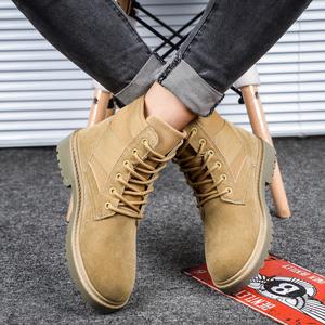 马丁靴男英伦中帮?#34924;?#24037;装男鞋潮男靴子2018新款军靴高帮夏季