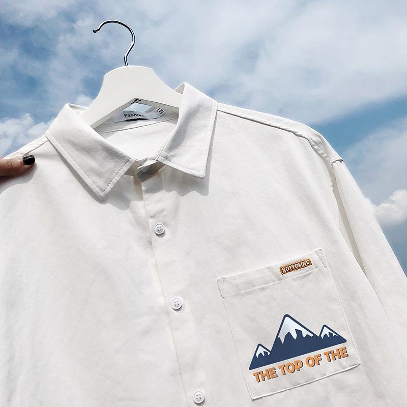 日系秋季长袖工装衬衫男新款时尚潮牌宽松休闲百搭衬衣外套