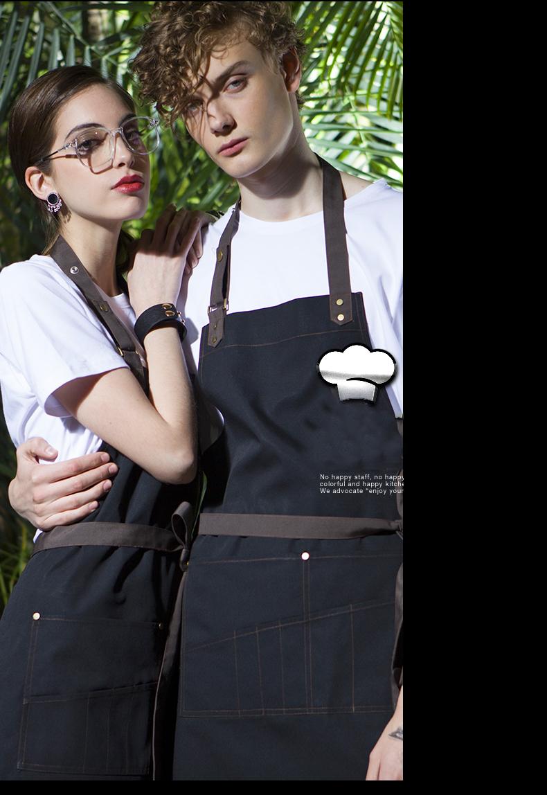厨房围裙韩版时尚咖啡店男女围裙定製可爱围腰成人工作服挂颈围裙详细照片
