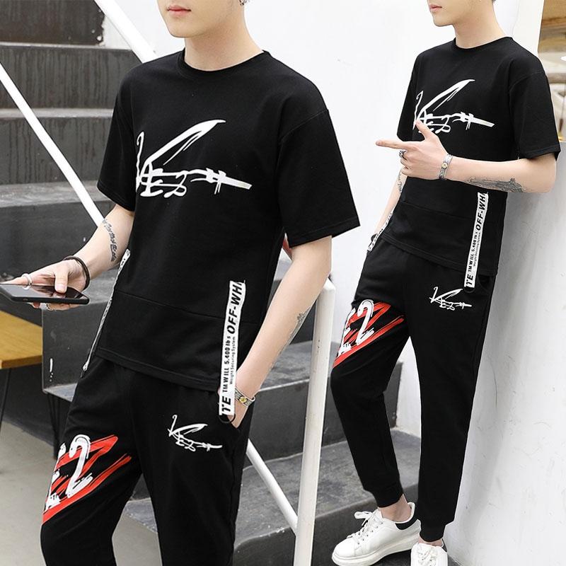 Bộ đồ mùa hè cho bé trai thể thao tuổi teen học sinh trung học cơ sở bộ quần áo nam phù hợp với áo thun ngắn tay đẹp trai - Bộ đồ