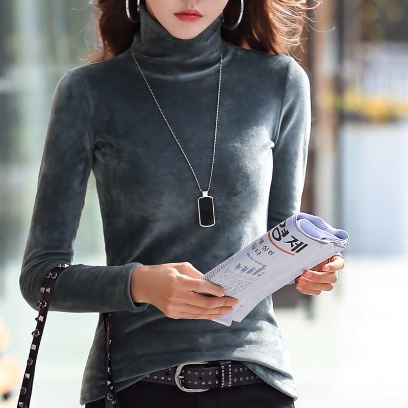 高领打底衫女秋冬长袖加绒加厚2020新款女装内搭堆堆领金丝绒上衣