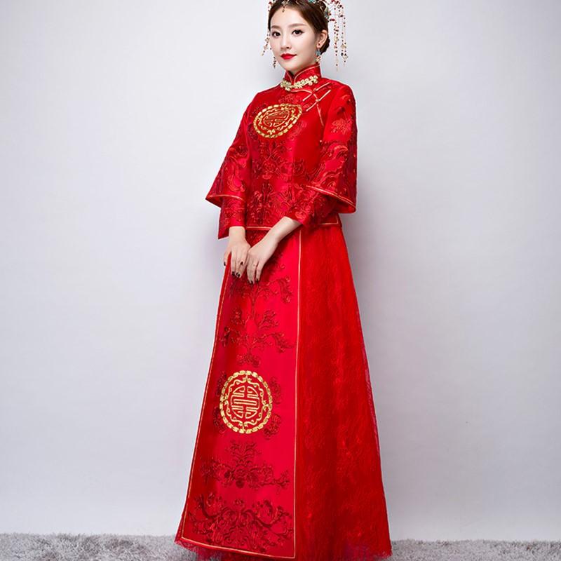 秀禾服2018新款新娘礼服嫁衣中式婚纱敬酒服女中国风结婚复古宫廷