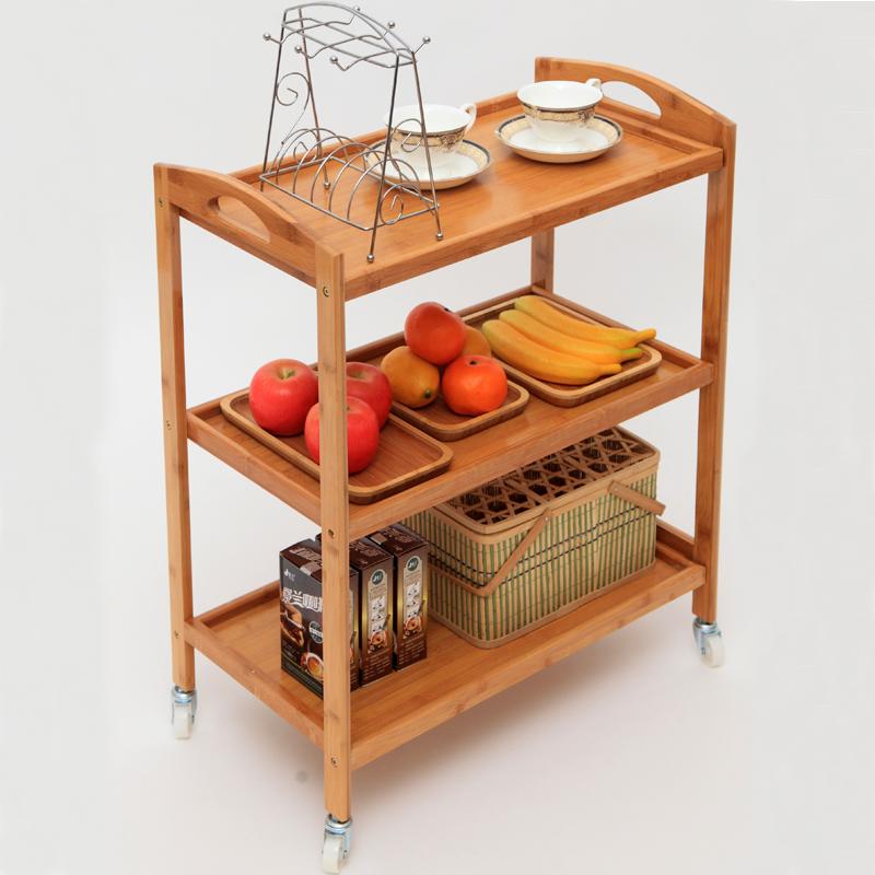Nanzhu Mobile Dining Car Cart Hot Pot Racks Three Solid Wood Home Kitchen Tea