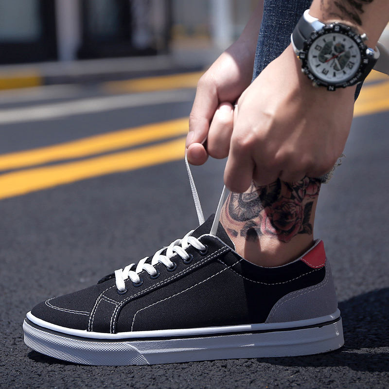 0175b2f562ec Men s Casual Lace Up Board Shoes Student Daily Wear Fashion Male Canvas  Shoes