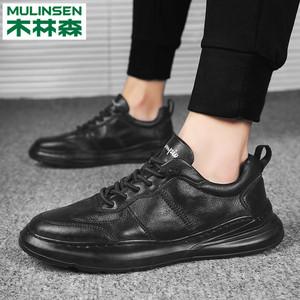 【木林森】新款潮流英伦休闲男士皮鞋