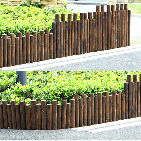 Cylindrical Wood Pile Wooden Fence Carbide Wood Fence Flower Beds