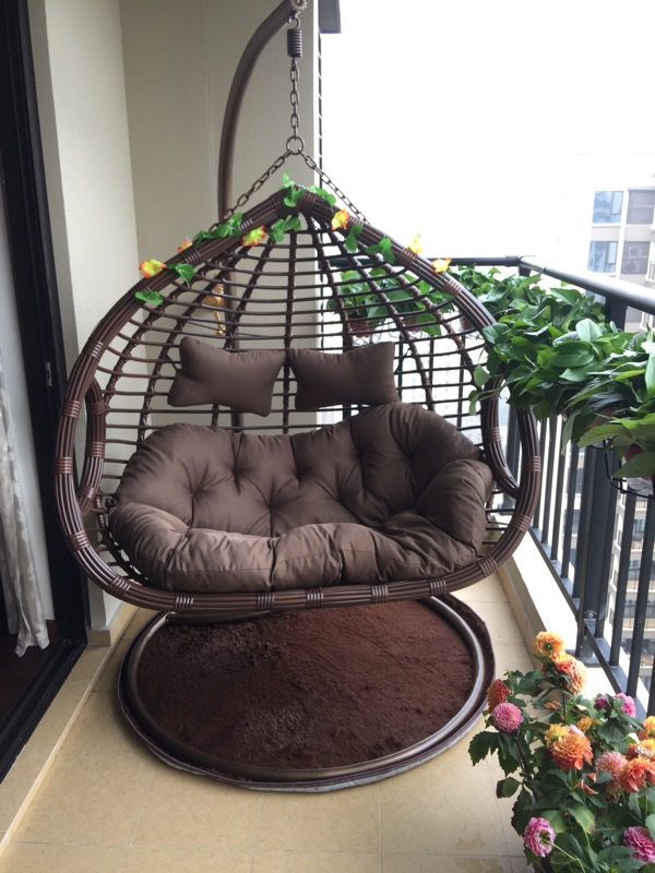 Wrought Iron Chair Hanging Basket Indoor Rattan Bird Nest Lazy Garden  Hammock Wicker Chair Outdoor Balcony Swing Cradle Chair