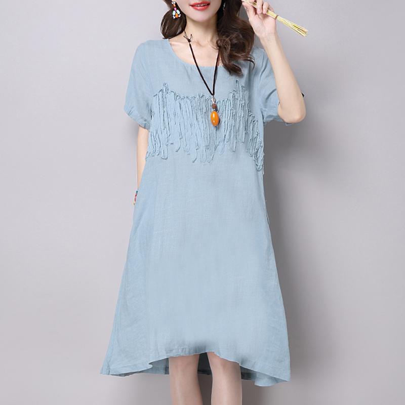 2016夏季短袖棉麻连衣裙子女宽松直筒中裙圆领纯色显瘦亚麻布女装