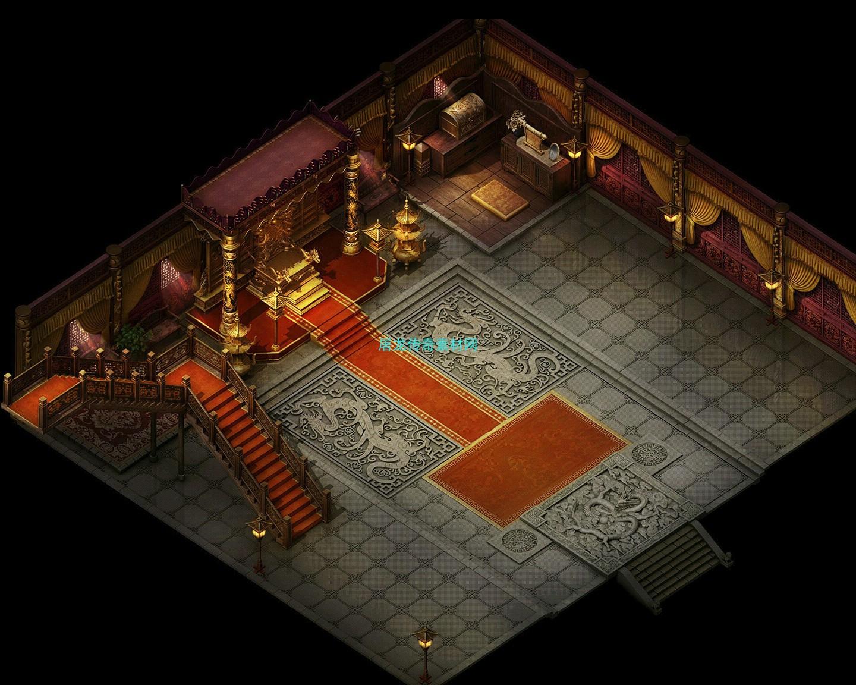 传奇地砖地图素材 沙城皇宫系列 黄金宝座 高清地砖 无缝封边